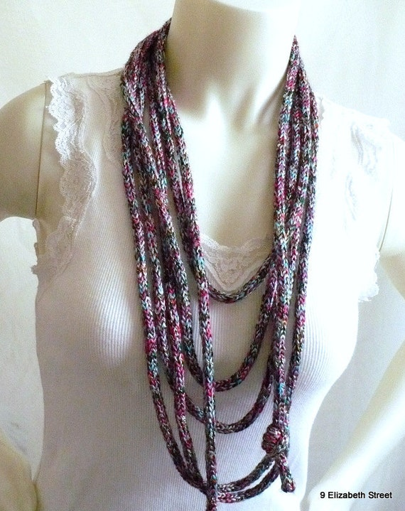 Layered loop necklace, knitted infinity scarflace, multicolored
