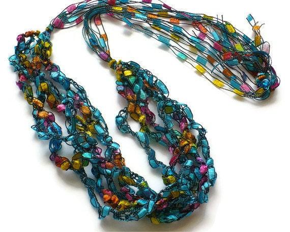 Crochet Patterns Ribbon Yarn : Crocheted Ribbon Necklace Ladder Yarn Necklace Crochet