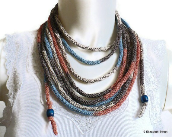 Bohemian loop infinity necklace, knitted scarflace, tribal jewelry, southwest style