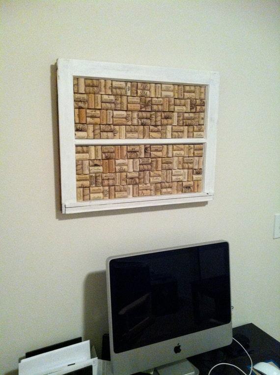Reclaimed Vintage Window Frame Cork Board