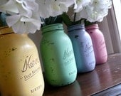 WEDDING and Home Decor SALE Painted and Distressed Shabby Chic Mason Jar Vases - Springtime quart