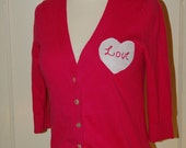 Hot Pink HEART LOVE APPLIQUE Cotton Cardigan Embroidered S