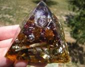 Chi-Pyramid - Small- Garnets and Amber
