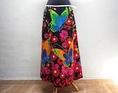 Flower Printed Long Skirt Vintage Colorful Clothing