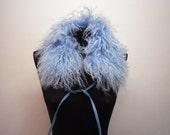 Faux Fur Scarf Vintage Blue Pleather Collar