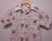 Childrens Button Up Retro Shirt Vintage Short Sleeved Unisex Top
