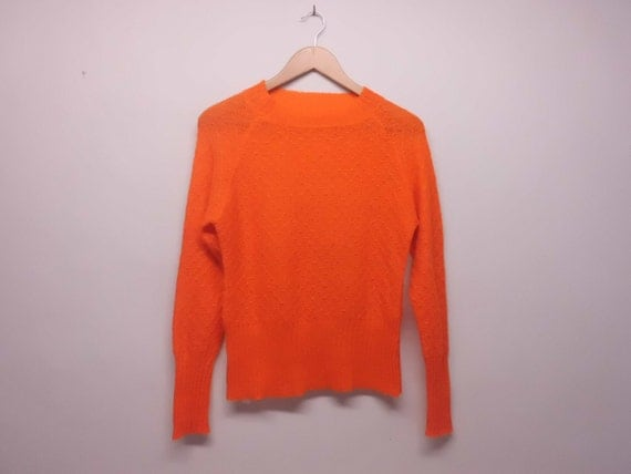 Shiny Orange Sweater Vintage Woman Colorful Point Jumper