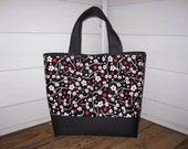 Large Canvas w/ Cotton Print Tote with magnetic snap and lined pocket