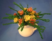 French Beaded Indian Paintbrush Flowers - VASE INCLUDED