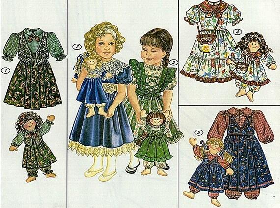 Sunrise Designs 249 pattern toddler girls dresses and 21 inch RAG DOLL