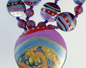 Fantasy Land - necklace composed of imagination and  joy - hand made and painted