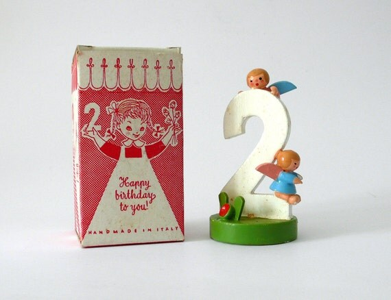 Vintage wooden handpainted birthday number two year