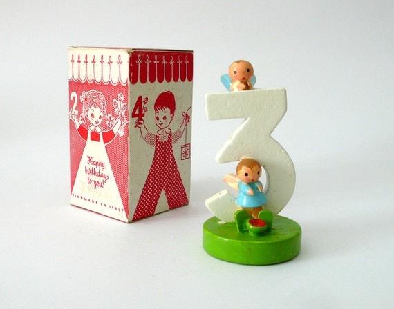 Vintage wooden handpainted birthday number Three year