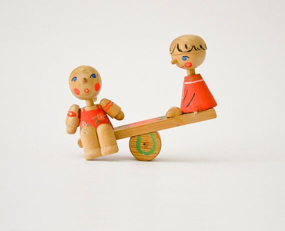 Vintage wooden handpainted russians boy girl players seesaw teeter-totter