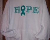 Teal awareness ribbon HOPE appliqued hooded sweatshirt