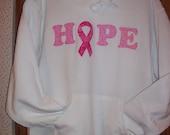 Breast Cancer Awareness HOPE appliqued hooded sweatshirt