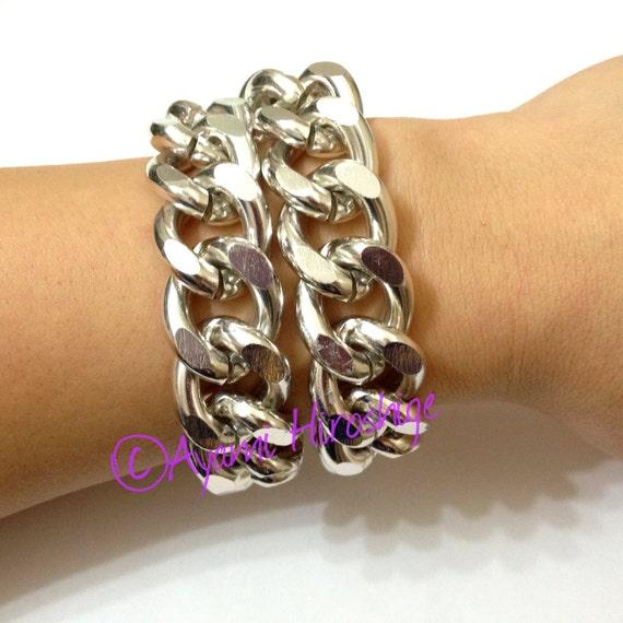 Bright Silver Wrap Chunky Curb Chain Bracelet