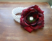 Infant white crochet headband with large red flower, wonderful accessory for a fall day