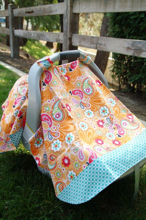 orange and teal bird paisley baby car seat cover. Black Bedroom Furniture Sets. Home Design Ideas