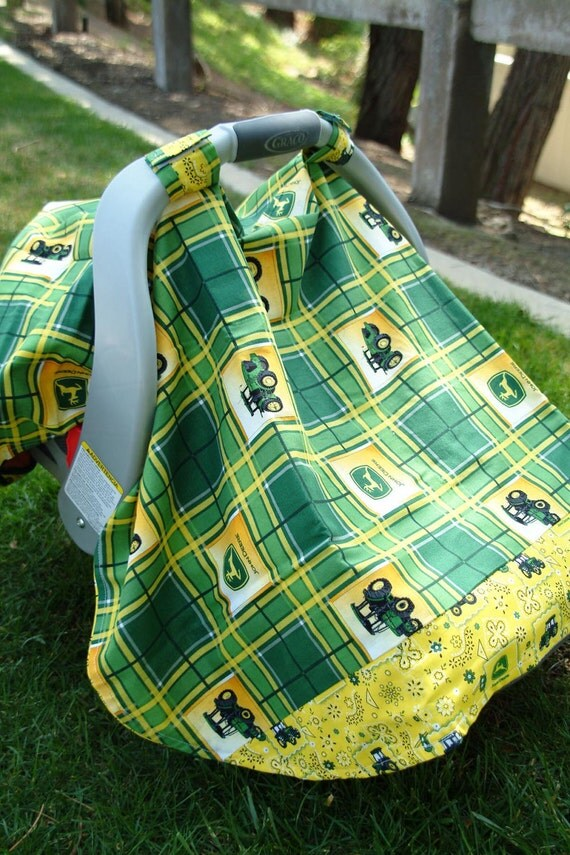 John Deere Car Seat Covers : Yellow and green john deere baby car seat cover