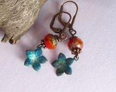 Verdigris Patina Copper, Orange Glass Bead Earrings, Copper Stars, Picasso Beads, Dangle