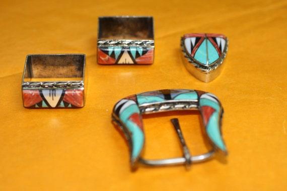 Sterling Silver Belt Buckle/End Cap Set Native American/Western