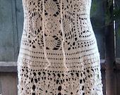 Handmade lace crochet dress, replica fashion style, summer dress, cream cotton,made to order
