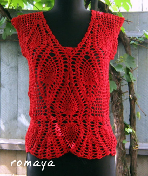 Free Online Crochet Top Patterns : Items similar to Handmade lace crocheted tank top ...