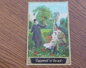 Vintage Postcard 1910s Caught Kissing In The Park