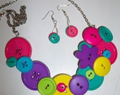 Colorful Button Necklace with Matching Earrings