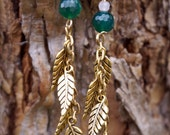 Leaves In the Wind with Green Agate and Rose Quartz Earrings
