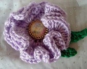 FREE SHIPPING Crochet Lilac Floral Brooch