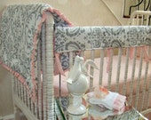 Bumperless Crib Bedding 2 Piece Set Teething Guard and Blanket Pink and Grey Damask