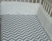 Crib Sheet Fitted Grey Chevron ZigZag