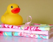 Baby Washcloths Set of 3, Pink, Aqua and Green  Floral