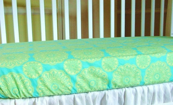 Fitted Crib Sheet Baby Bedding Crib Sheet Turquoise and Green