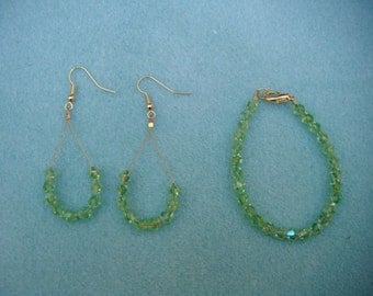 green bicone bracelet and earring set