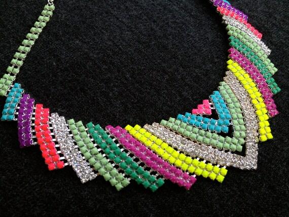 Neon Chevron Custom Hand Painted Rhinestone Necklace - you pick colors