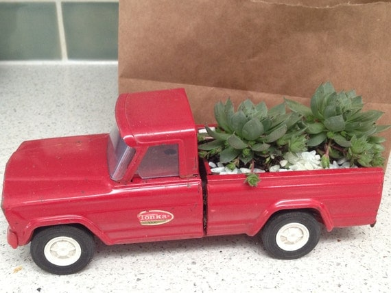 Succulent Garden in a Red Vintage Toy Pickup Truck
