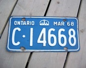 1968 Ontario License Plate