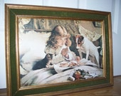 Vintage Print Young Girl Saying Grace Dog and Kitten Watch her food