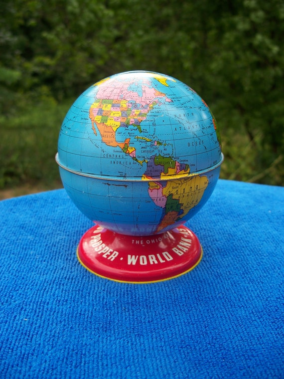 Vintage Ohio Art Globe Bank for Children / Collectible