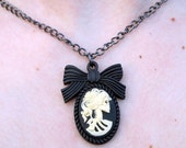Skull Lady Cameo Necklace