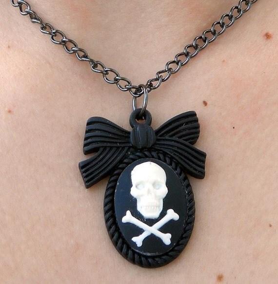 Skull & CrossBones Cameo Necklace