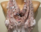 Pink Elegance Shawl / Scarf with Lace Edge