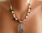 Leaf Necklace with Silver Plated Chain -Freshwater Pearls -- Semi-precious stones - Silk - Speacial Design