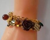 Golden Chain Bracelet with Swarovski Crystal and Porcelain Flower