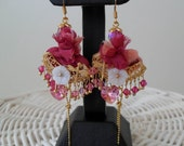 Pink Earrings - with Silk - Swarovski Heart - Crystals and Gold Plated Item