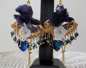 Dark Blue Earrings - with Silk - Swarovski Heart - Crystals and Gold Plated Item