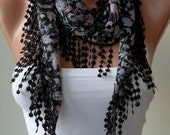 SALE - Black and Colorful Scarf with Black Trim Edge
